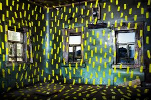 Igor Samolet, The north house interior with yellow line, 2014