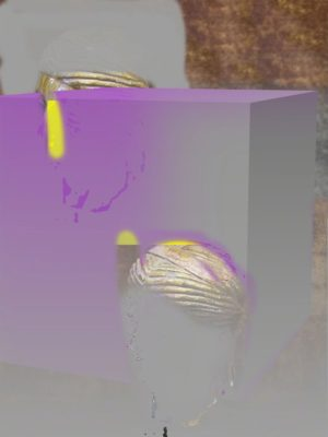 Proposal for duplicated head, purple and grey default cube, 2015